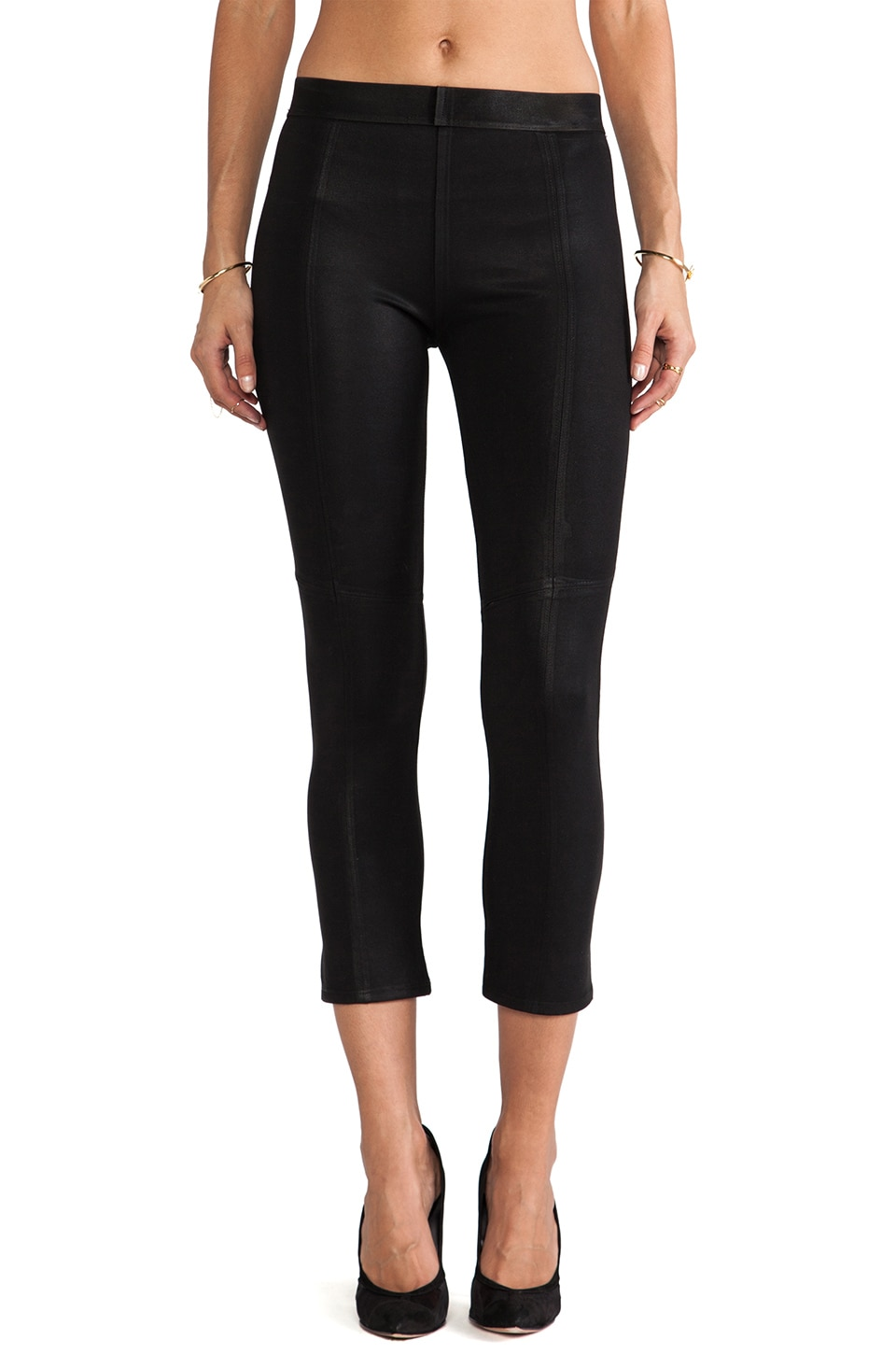 David Lerner Coated Crop Legging in Classic Black