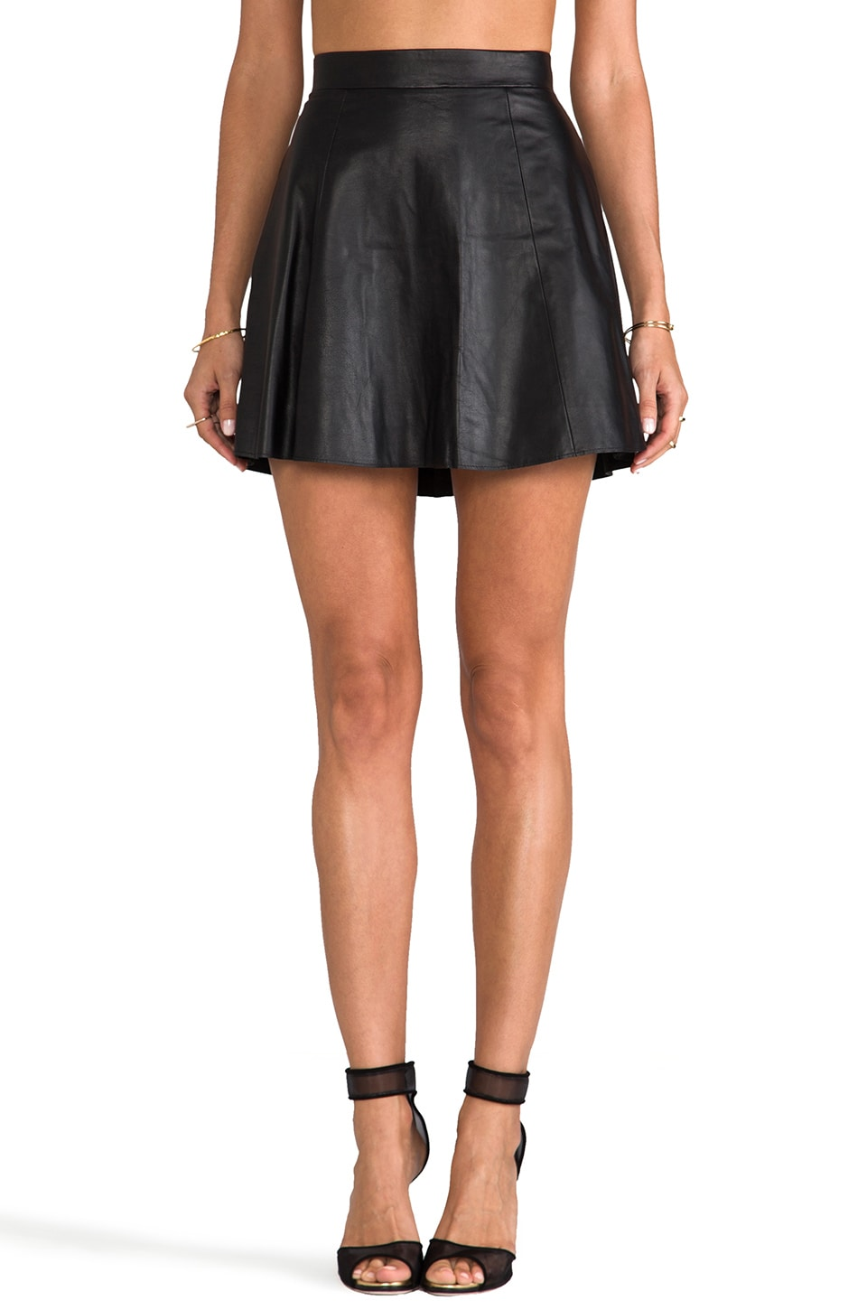 David Lerner The Bowery Leather Skirt in Black