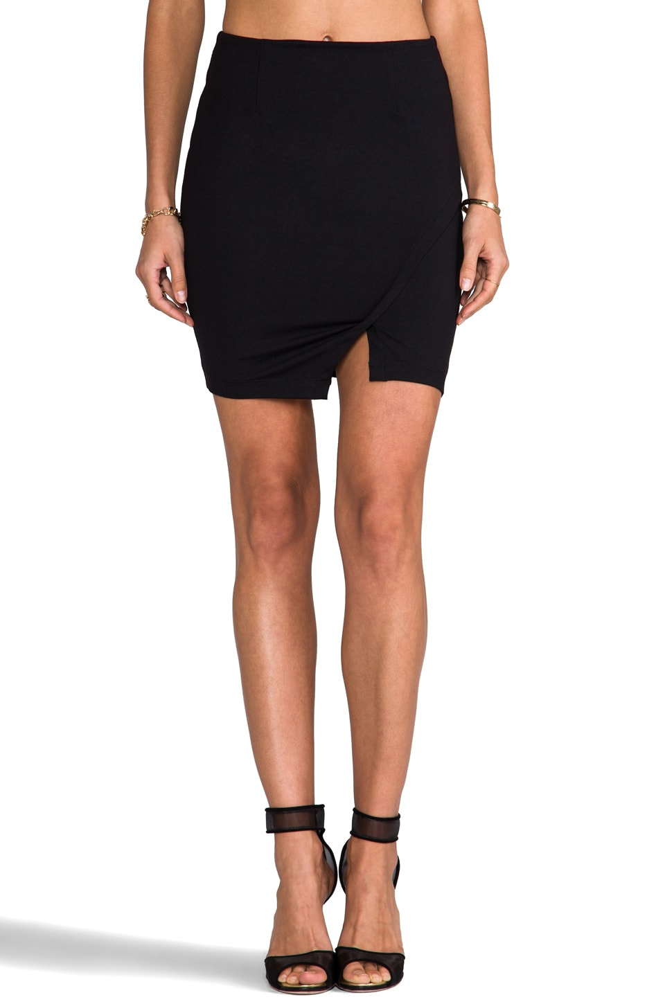 David Lerner Wrap Pencil Skirt in Black