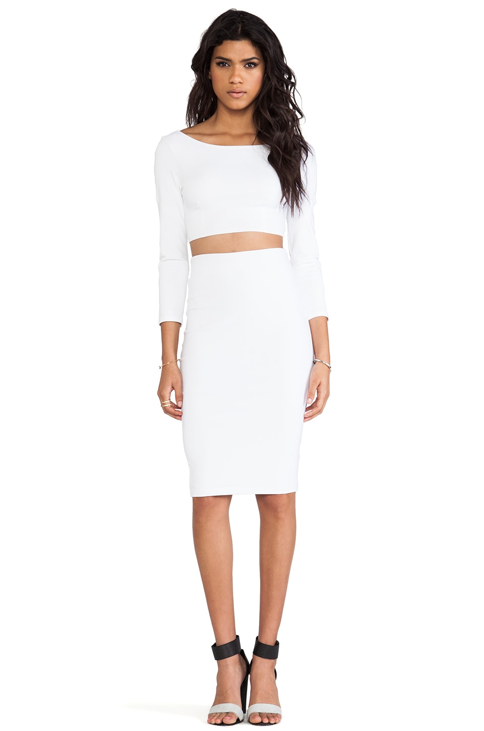 David Lerner Tube Midi Skirt in White | REVOLVE
