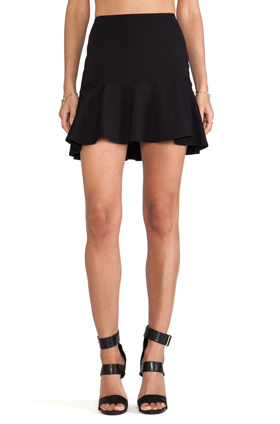 David Lerner Flounced Skirt in Black