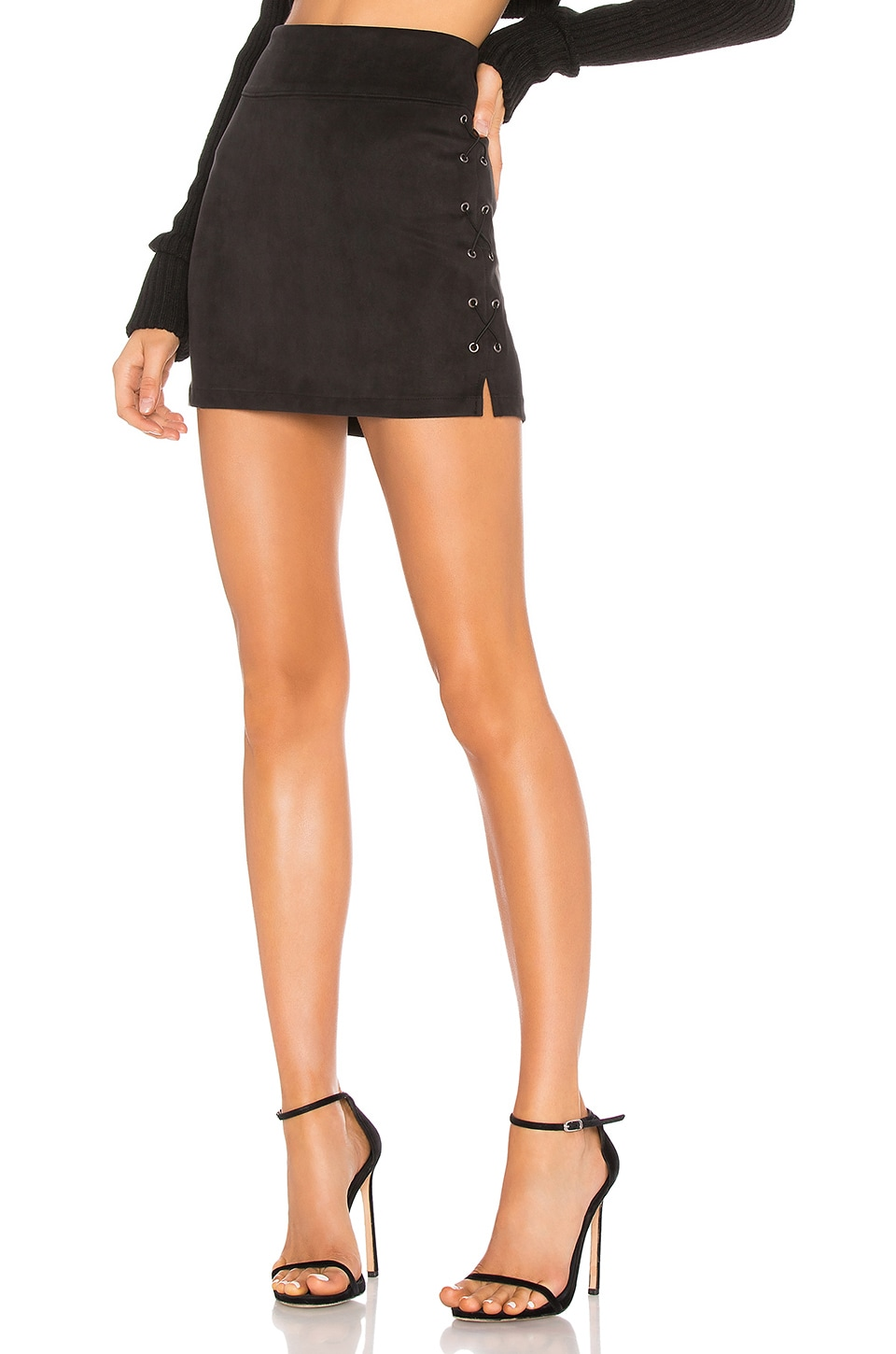 David Lerner Wax Cord Suede Lace Up Skirt in Black