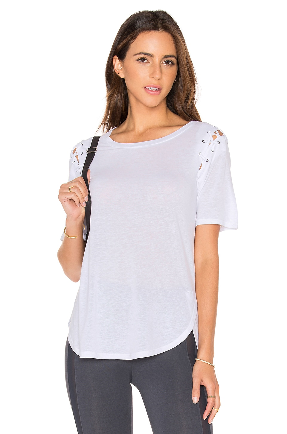 Lace Up Sleeve Top by David Lerner