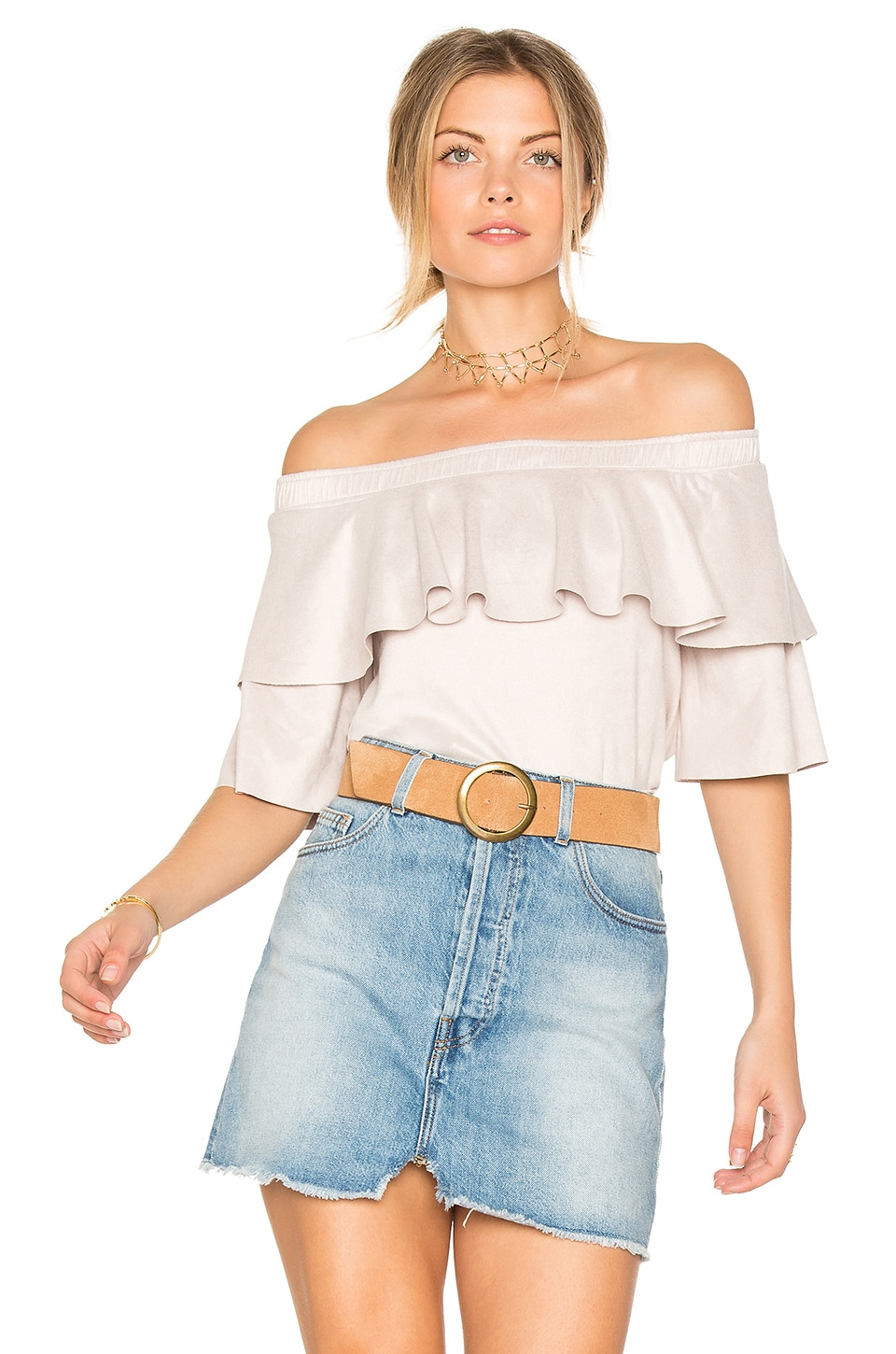 Suede Ruffle Top by David Lerner