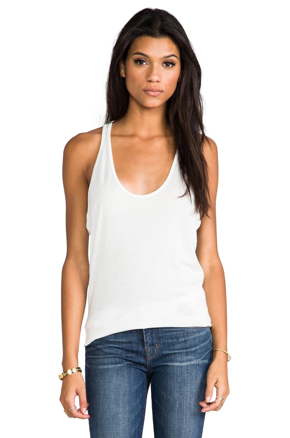 David Lerner Modern Wedge Tank in Soft White