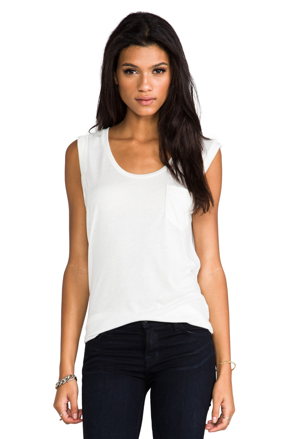 David Lerner Sleeveless Pocket Tee in Soft White