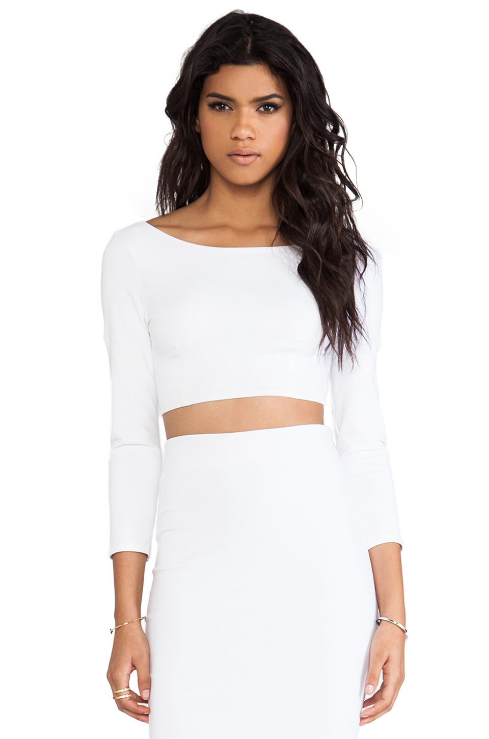 David Lerner Low Back Crop Top in White