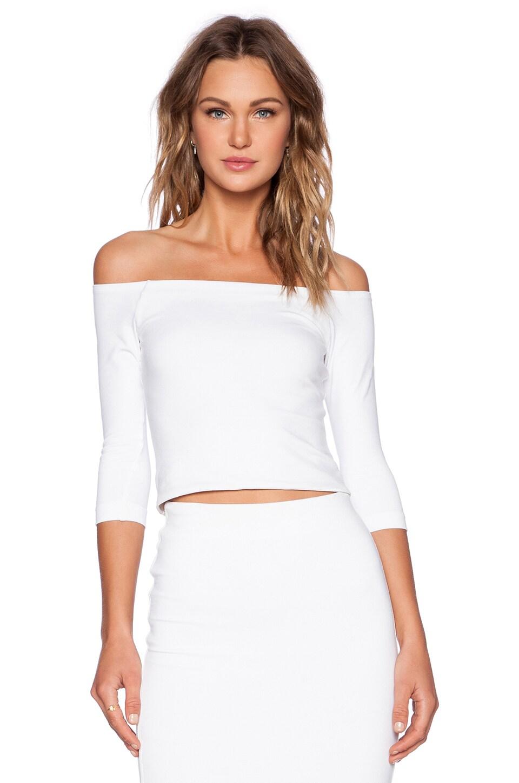 David Lerner Bardot 3/4 Sleeve Top in Soft White