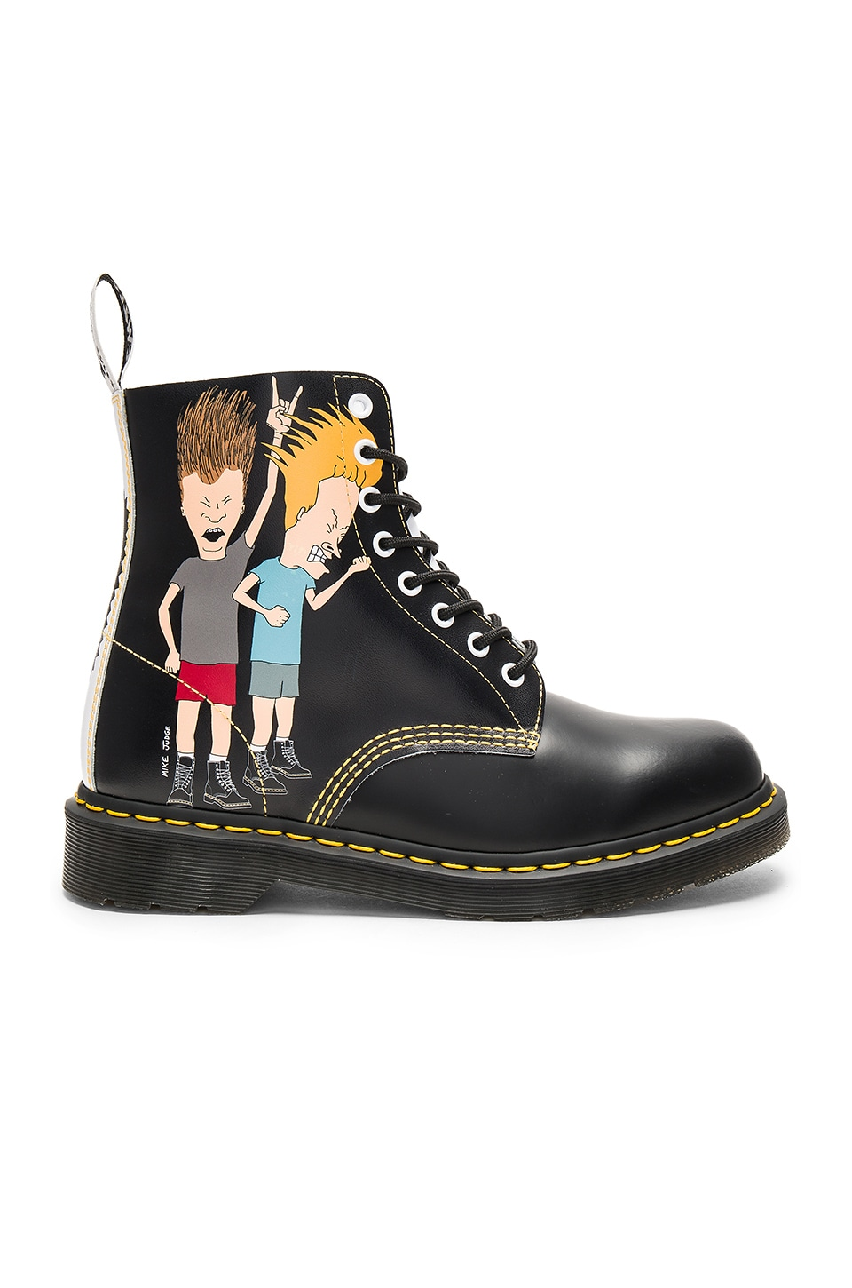 Dr. Martens Pascal 8 Eye Beavis & Butthead Boots in Black & White Print