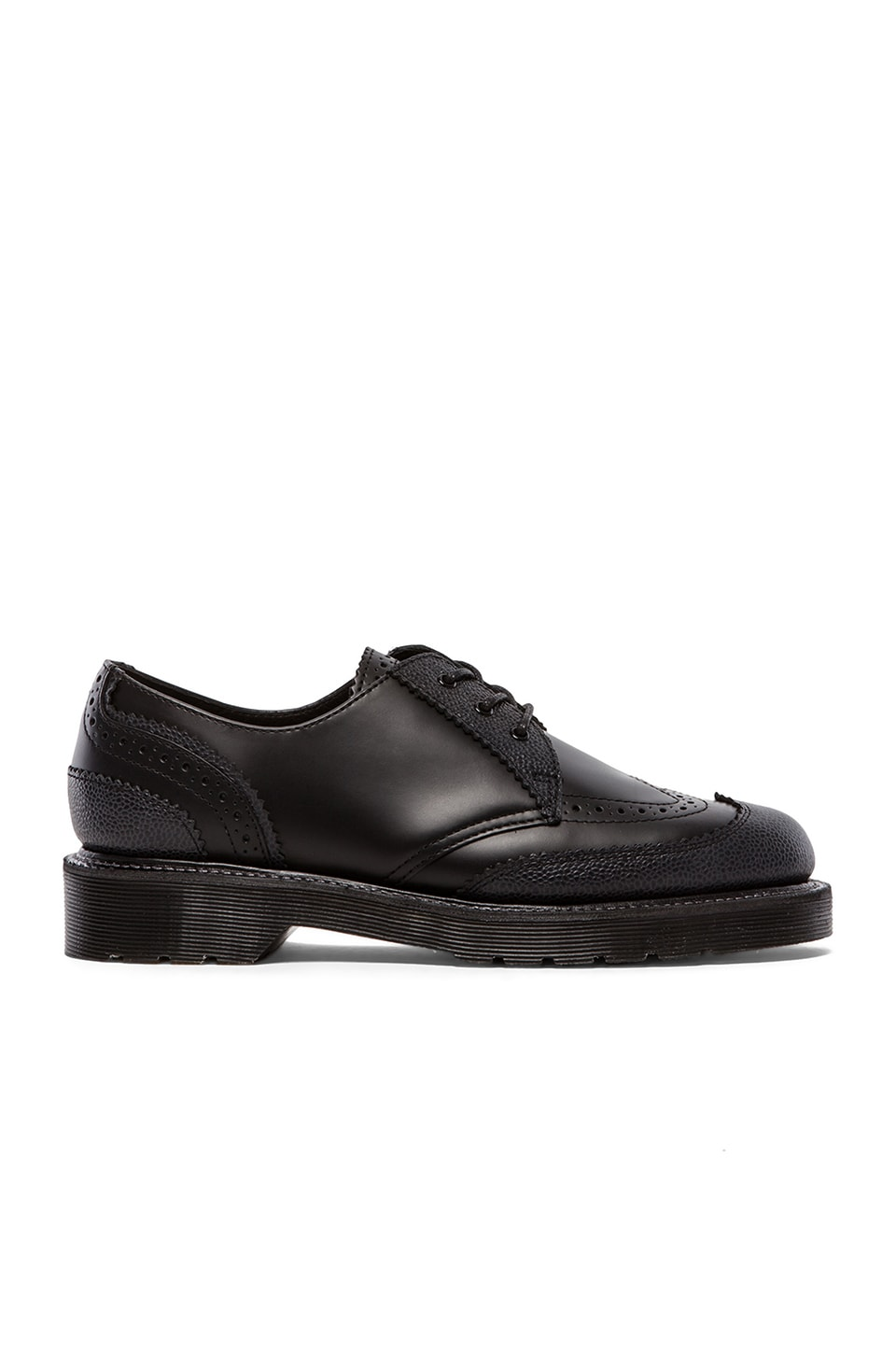 Dr. Martens 3-Eye Kelvin Brogue Shoe in Black & Black