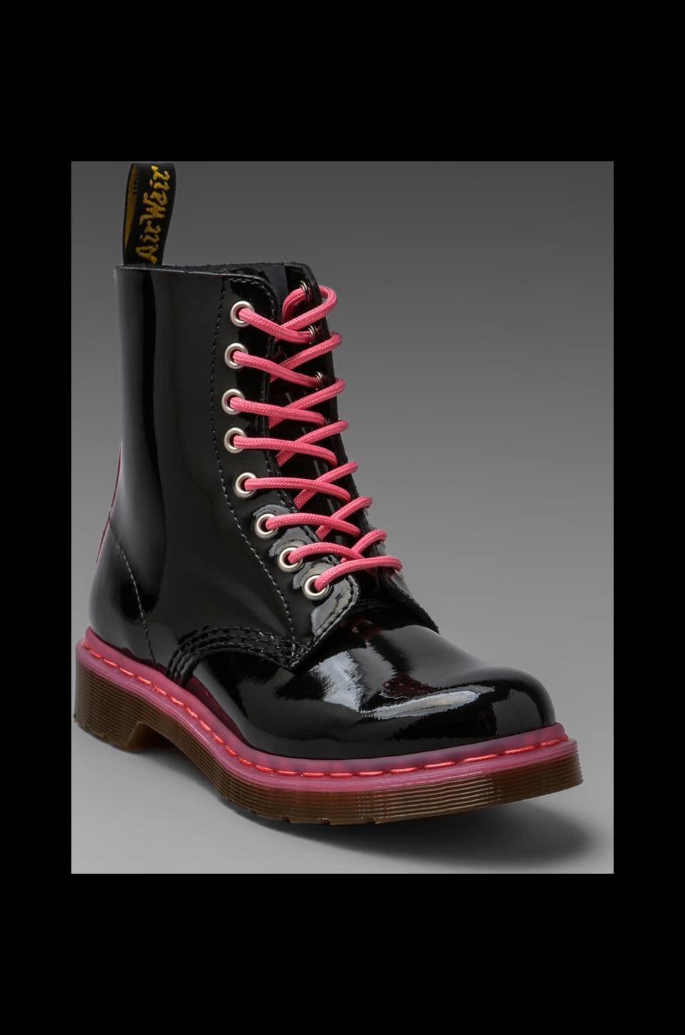 Dr. Martens Pascal 8-Eye Boot in Black/Acid Pink