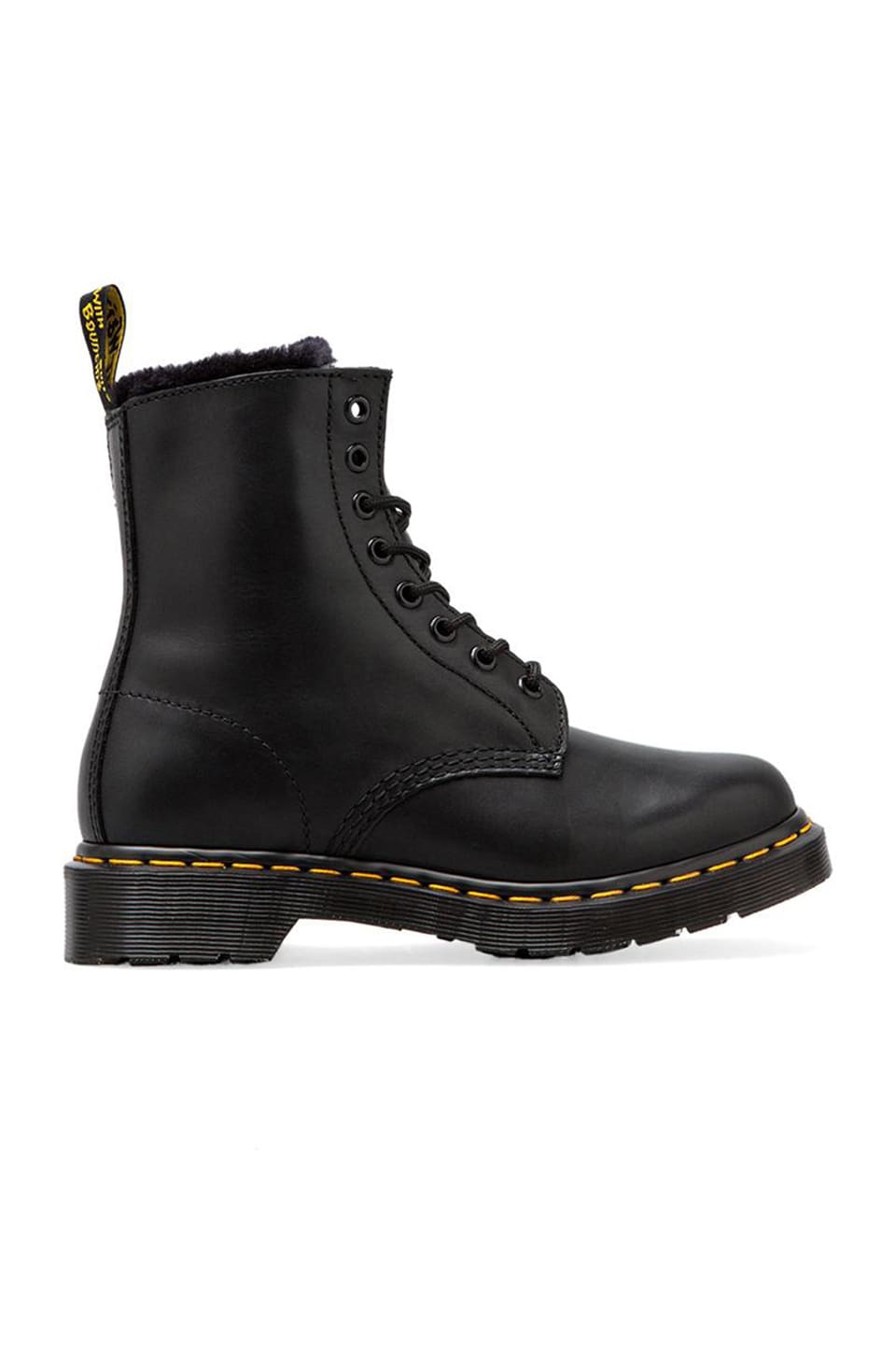 Dr. Martens Serena 8 Eye Boot with Faux Fur Liner in Black