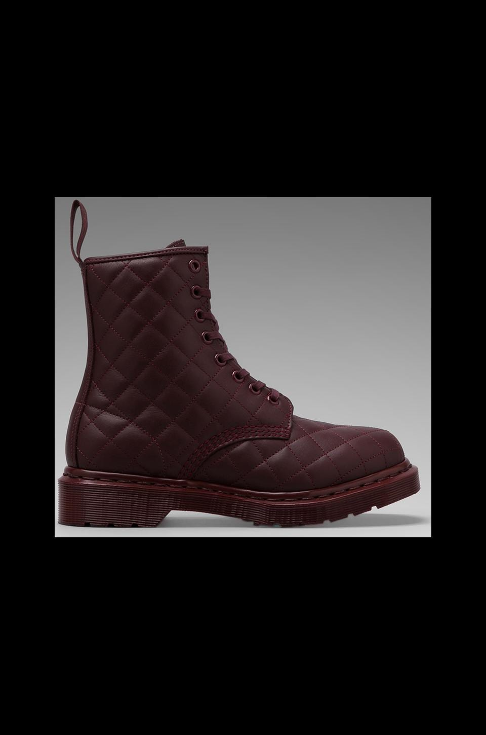 Dr. Martens Coralie Quilted 8-Eye Boot in Cherry Red