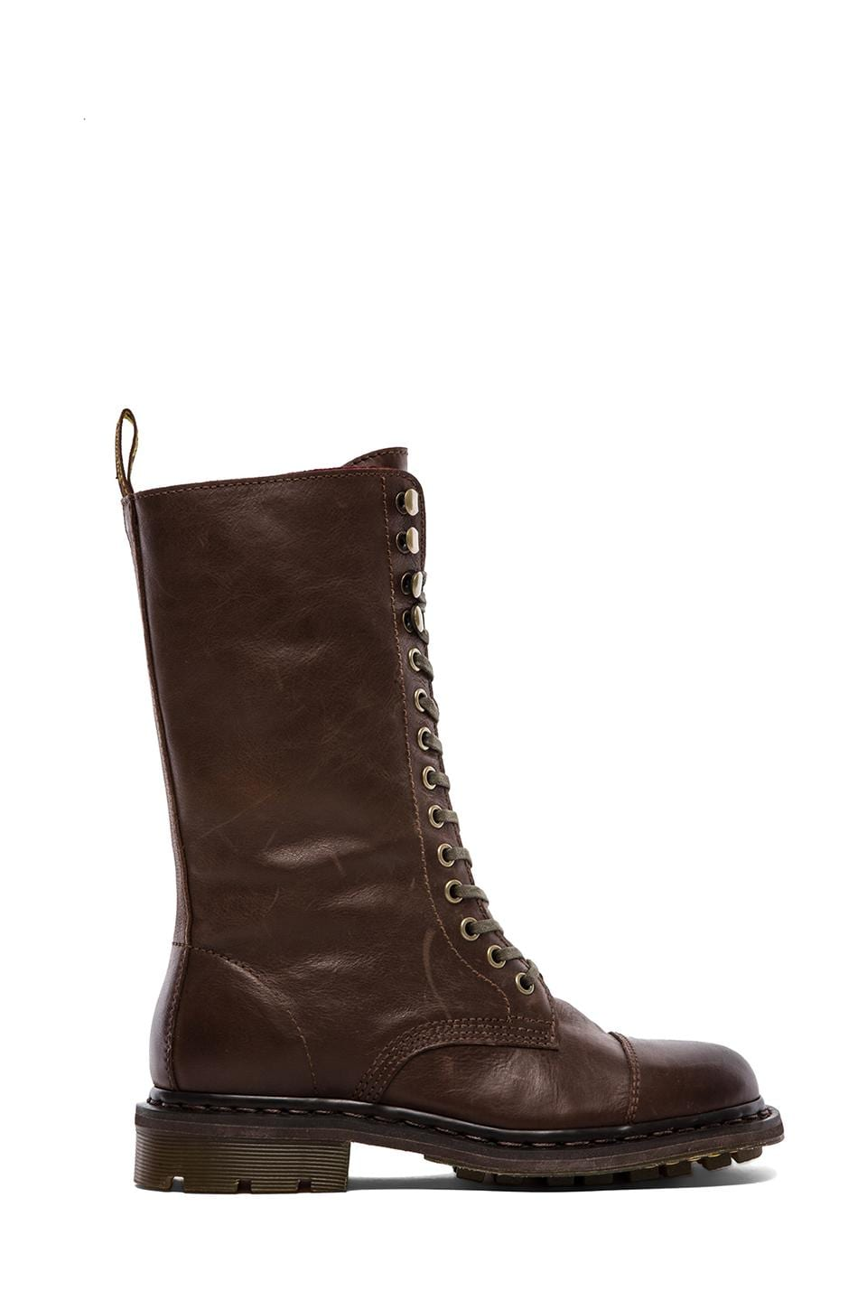 Dr. Martens Bridge 14-Eye Fold Down in Dark Brown