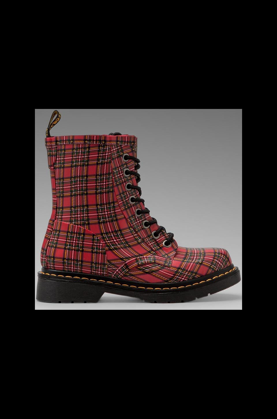Dr. Martens Drench 8-Eye Rain Boot in Red Stewart Tartan