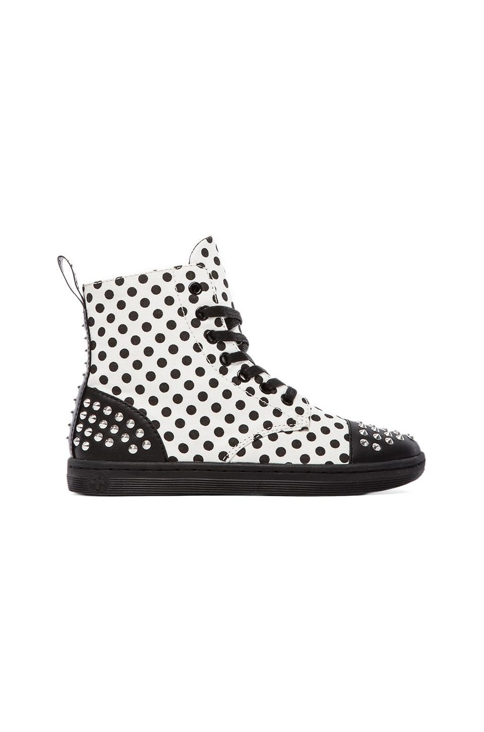 Dr. Martens Hackstud 7-Eye Boot in Black & White
