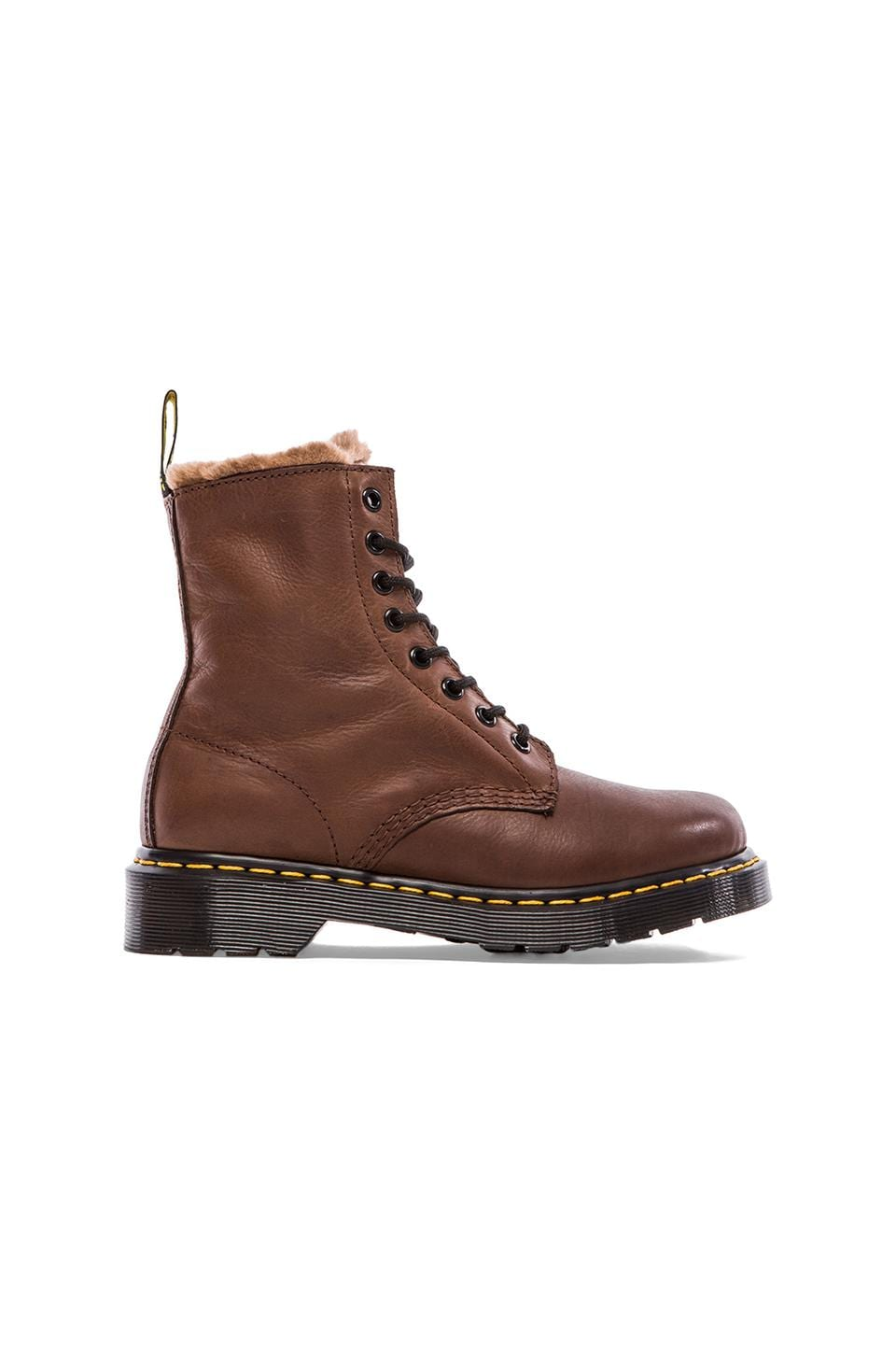 Dr. Martens Serena 8 Eye Boot with Faux Fur Liner in Dark Brown