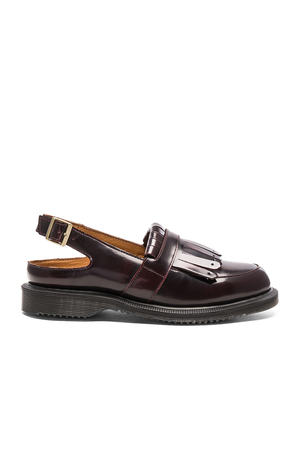 Dr. Martens Valentine Sling Back Tassel Flat in Cherry Red
