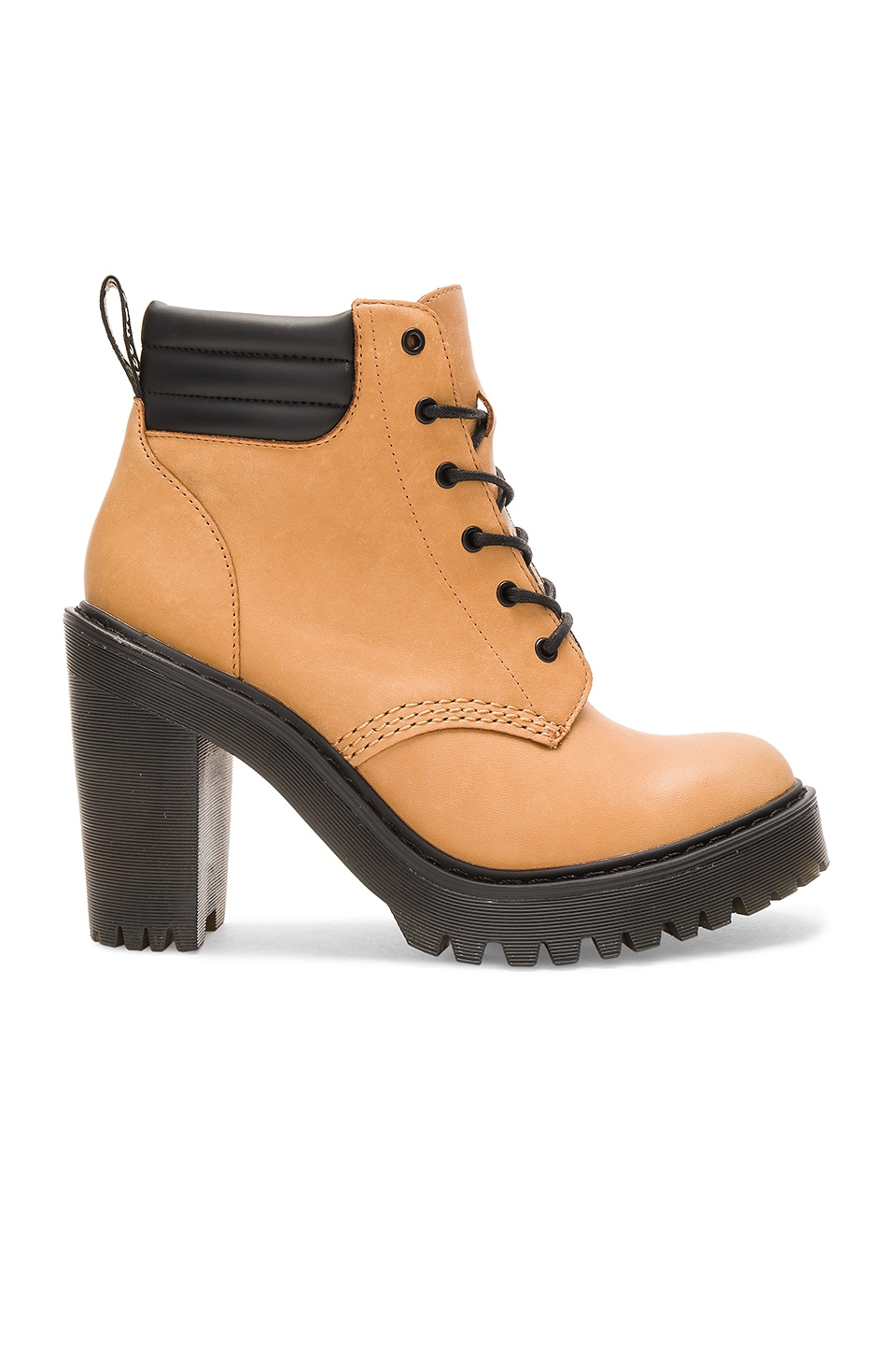Dr. Martens Persephone Padded Collar Boot in Tan & Black