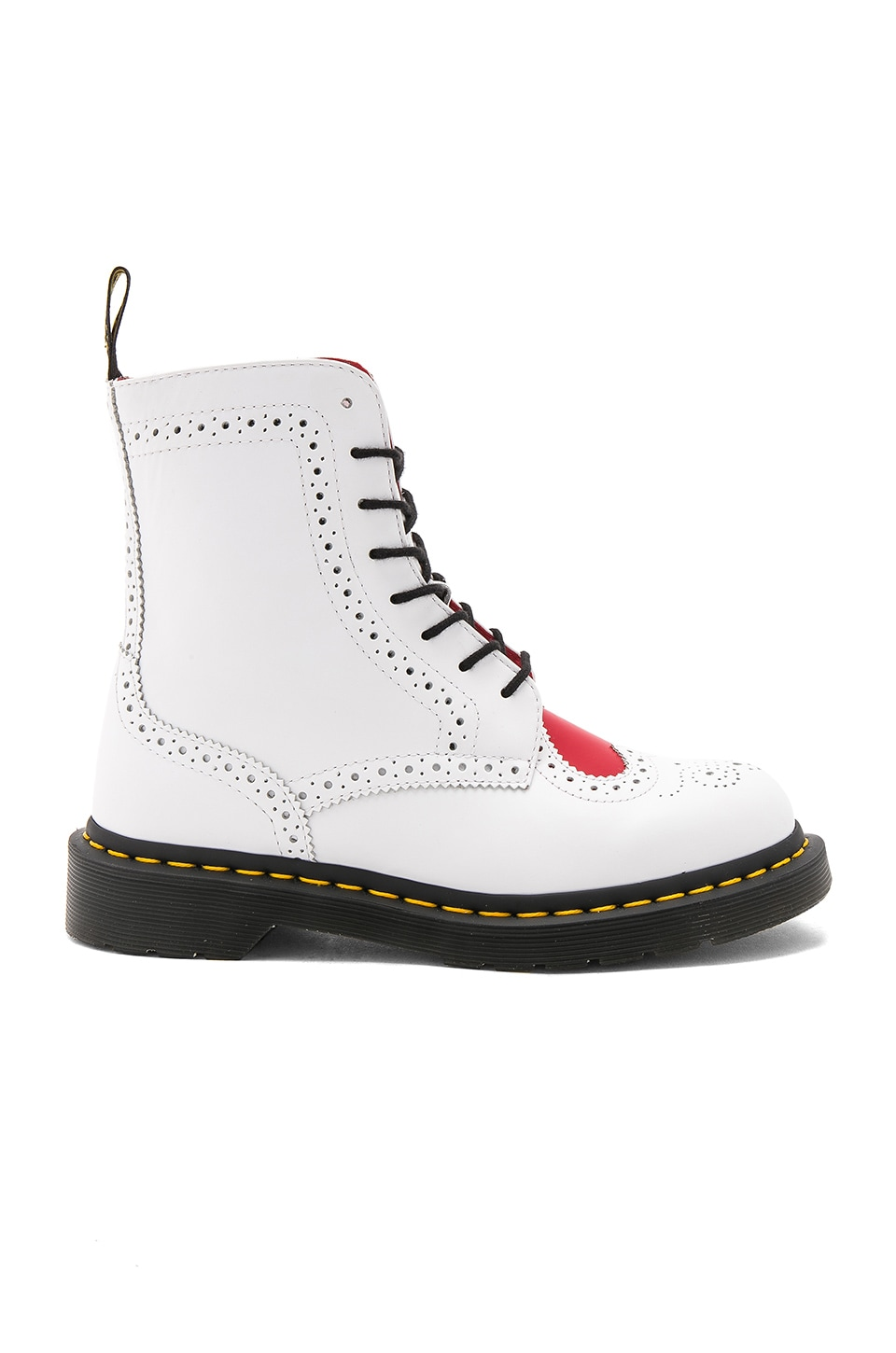 Dr. Martens Bentley II 8 Eye Boots in White Heart Red
