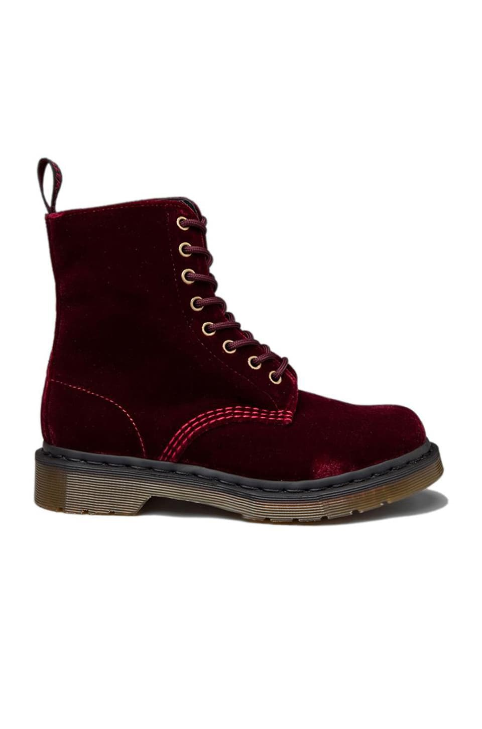 Dr. Martens Page Velvet Boot in Cherry Red