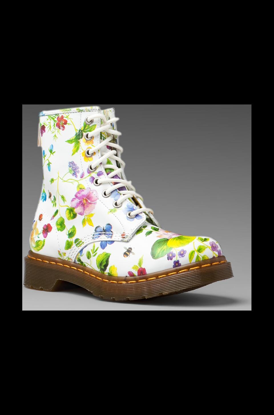 Dr. Martens 1460 W Boot in White Posy