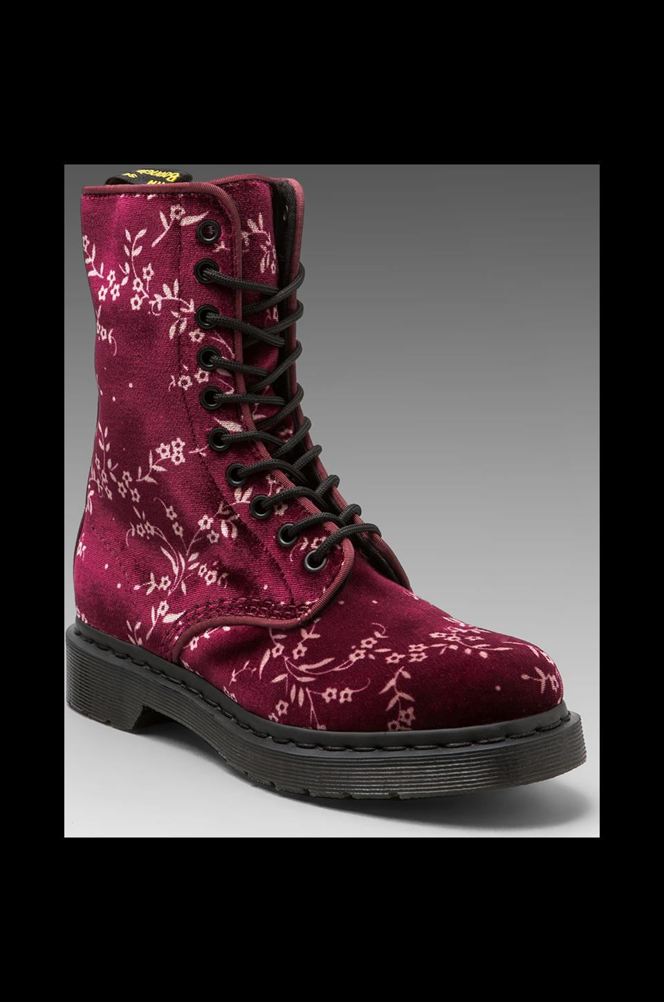 Dr. Martens Avery 10-Eye Boot DLS Floral in Cherry Red