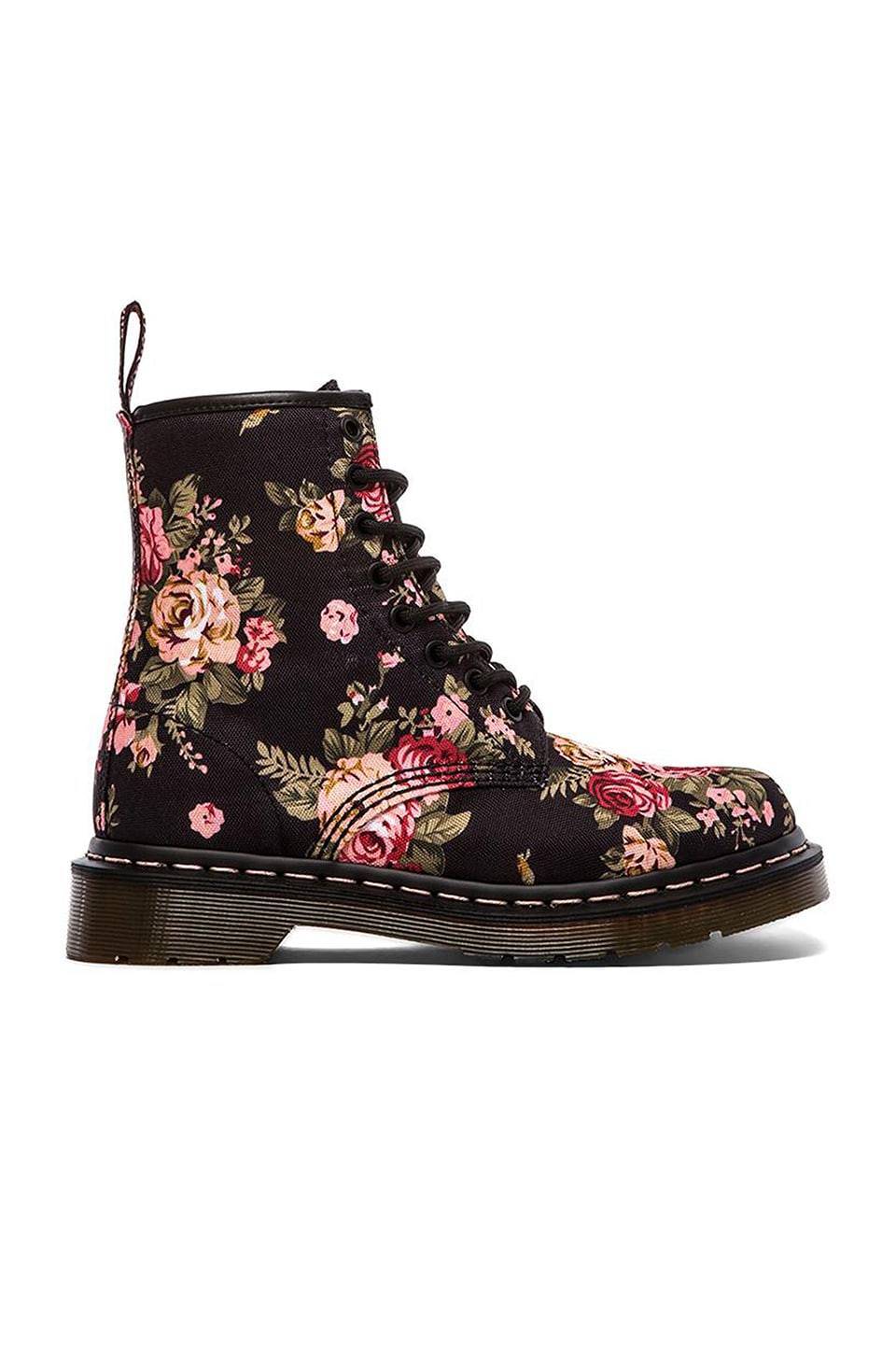 Dr. Martens Print 8 Eye Boot in Black Victorian Flowers