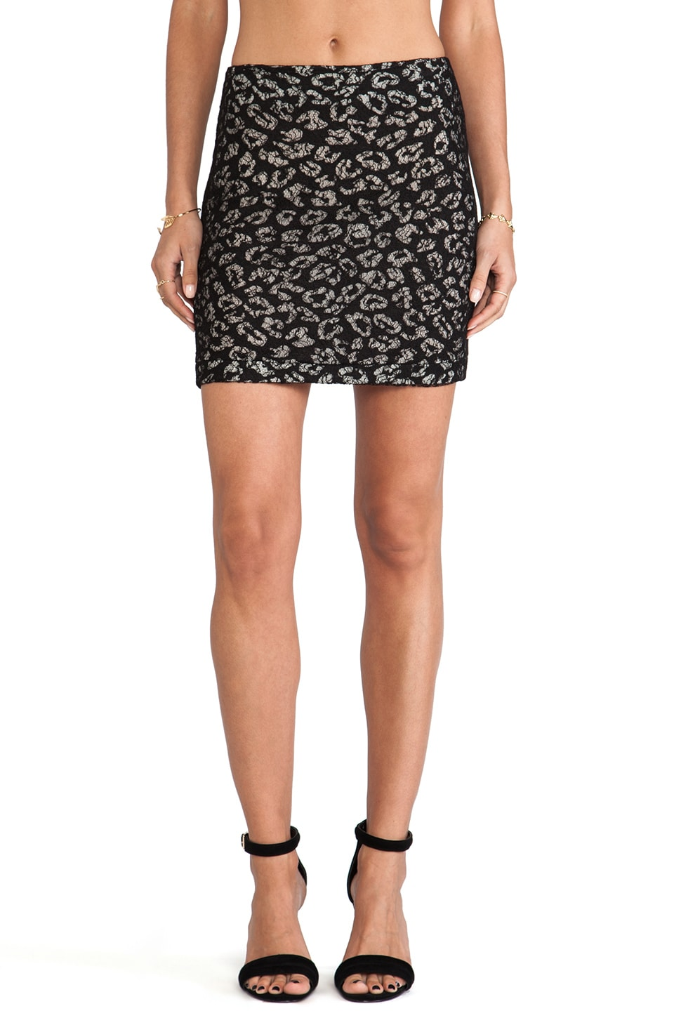 David Michael Mini Skirt in Leopard & Lace