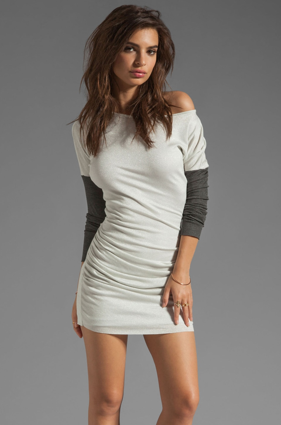 dolan Lurex Rib Shirred Dress in Star