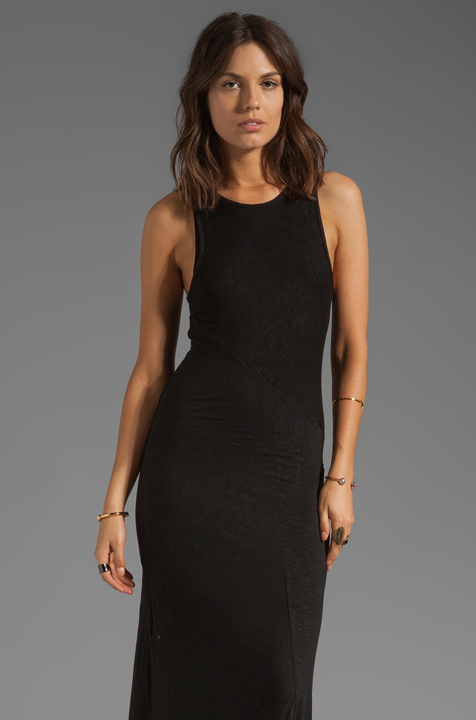 dolan Slub Jersey Hi Low Maxi Dress in Black