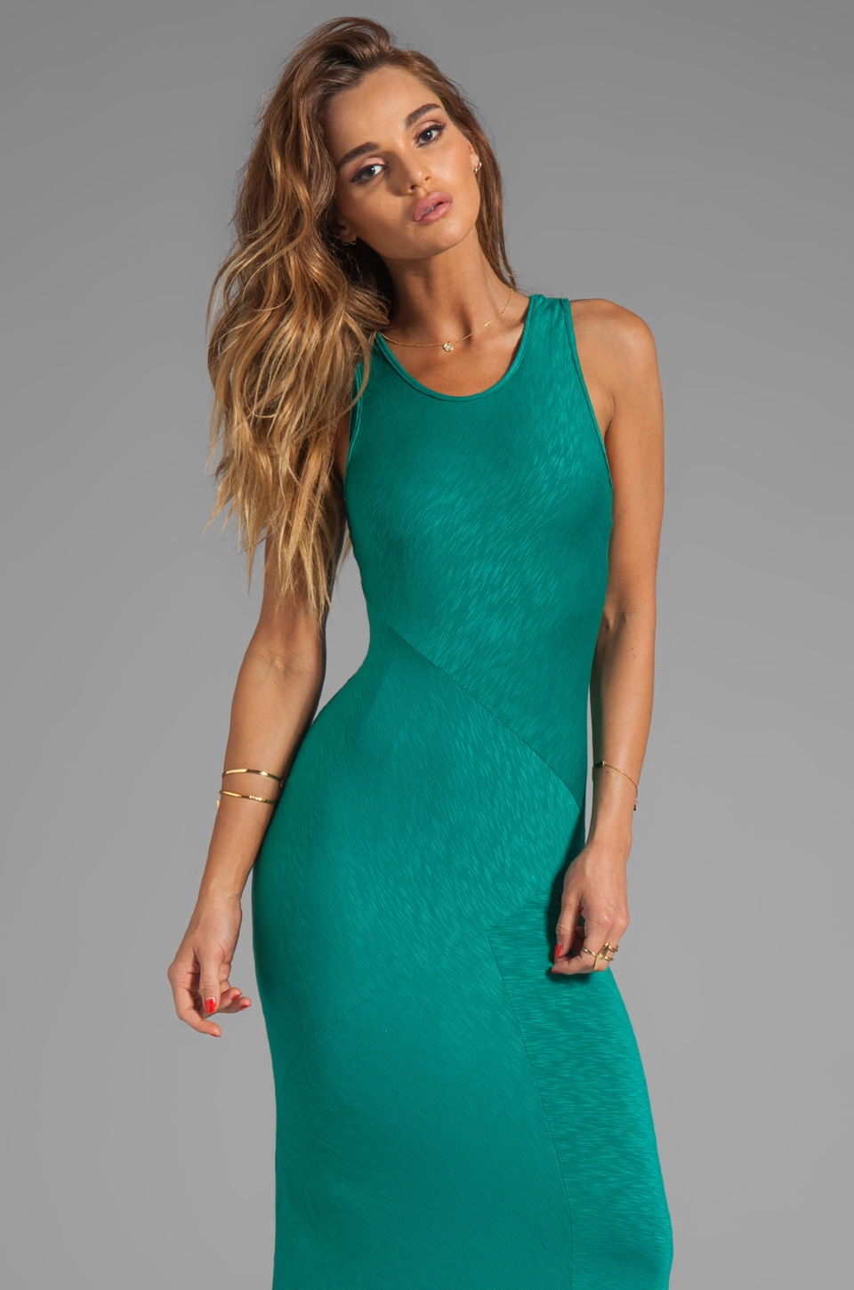 dolan Classic Slub Maxi Dress in Seaweed