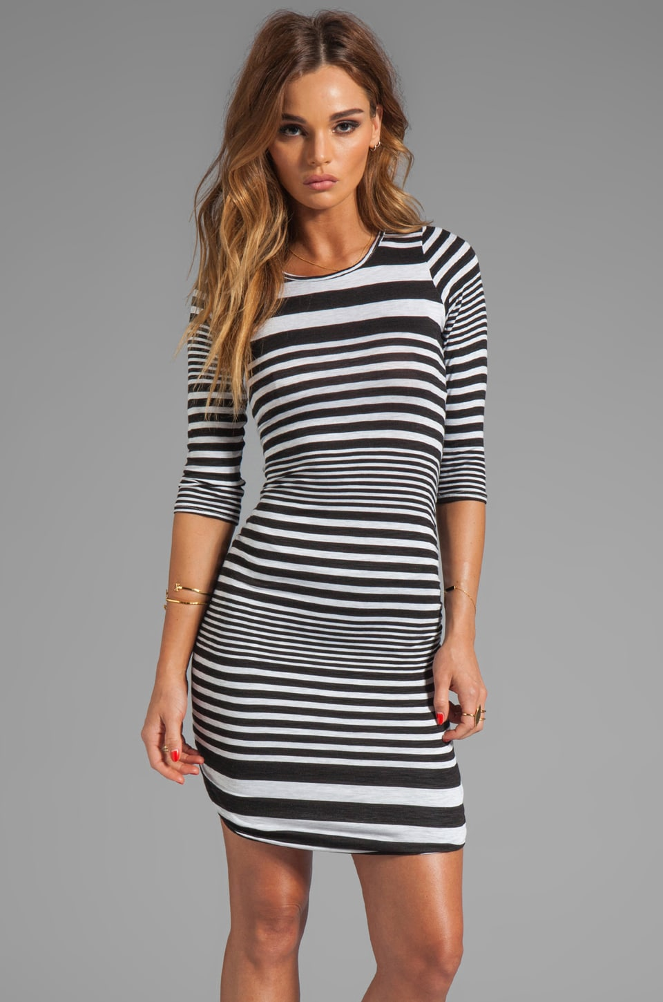 dolan Shirred Stripe Dress in Sailor