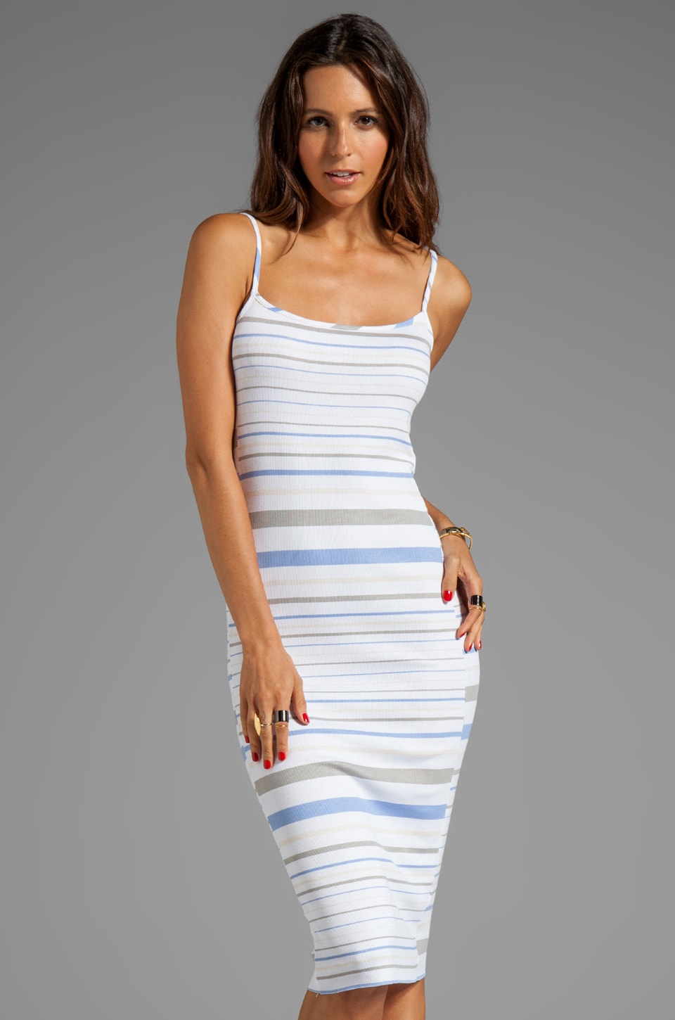 dolan T-Shirt EXCLUSIVE Midi Dress in Tan/White/Blue Stripe