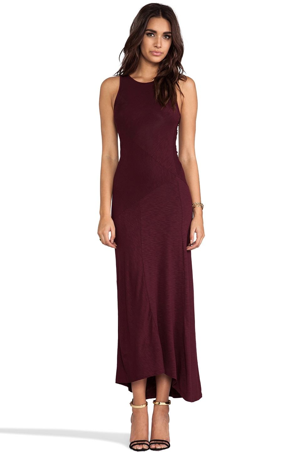 dolan Classic Slub Maxi Dress in Burgundy