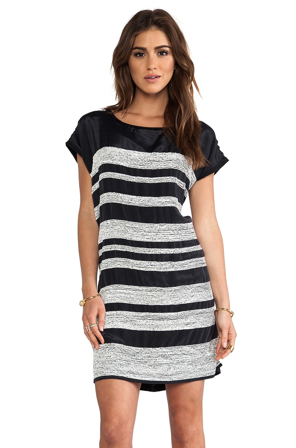 dolan Mini Sequin Stripe Dress in Black