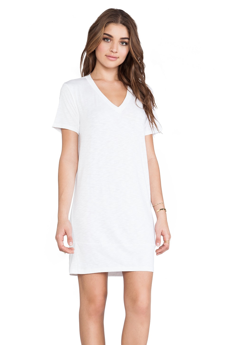 dolan V Neck T-Shirt Dress in Ivory