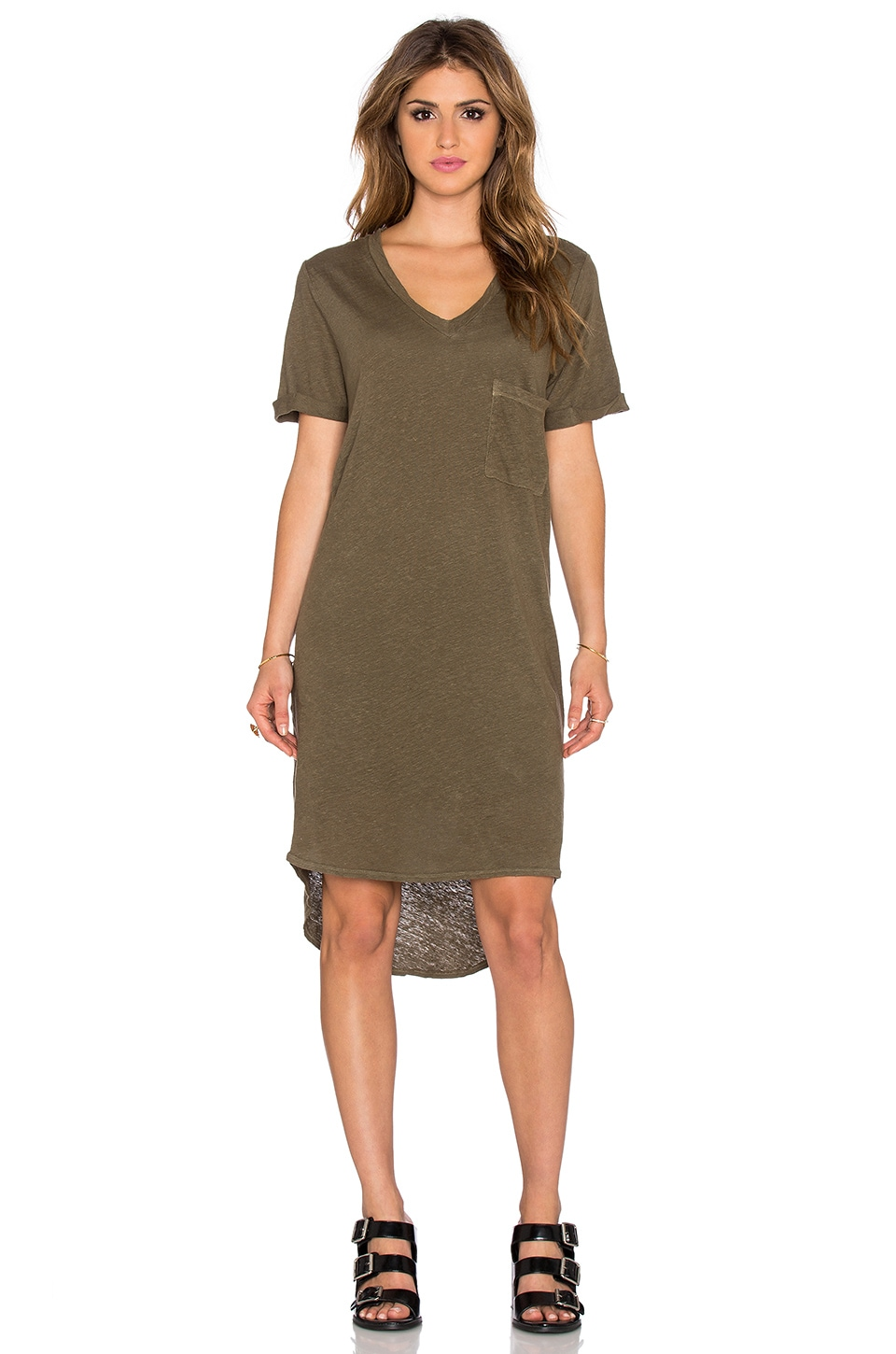 dolan V Neck T-Shirt Dress in Trouble