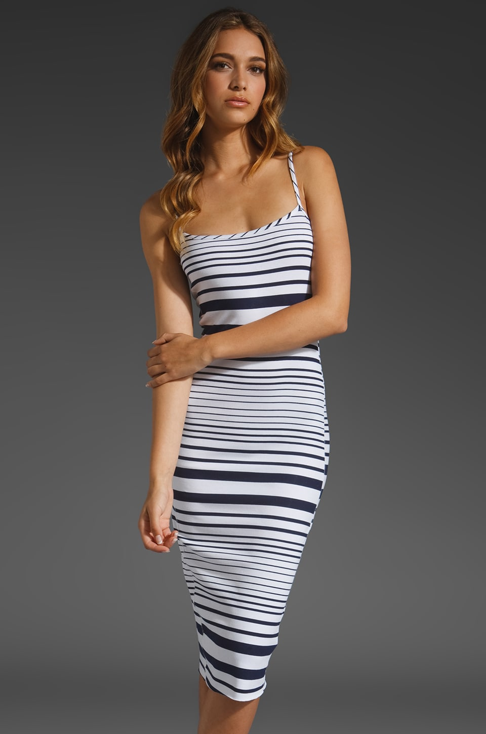 dolan T-Shirt Slip Dress in Pismo Navy Stripe
