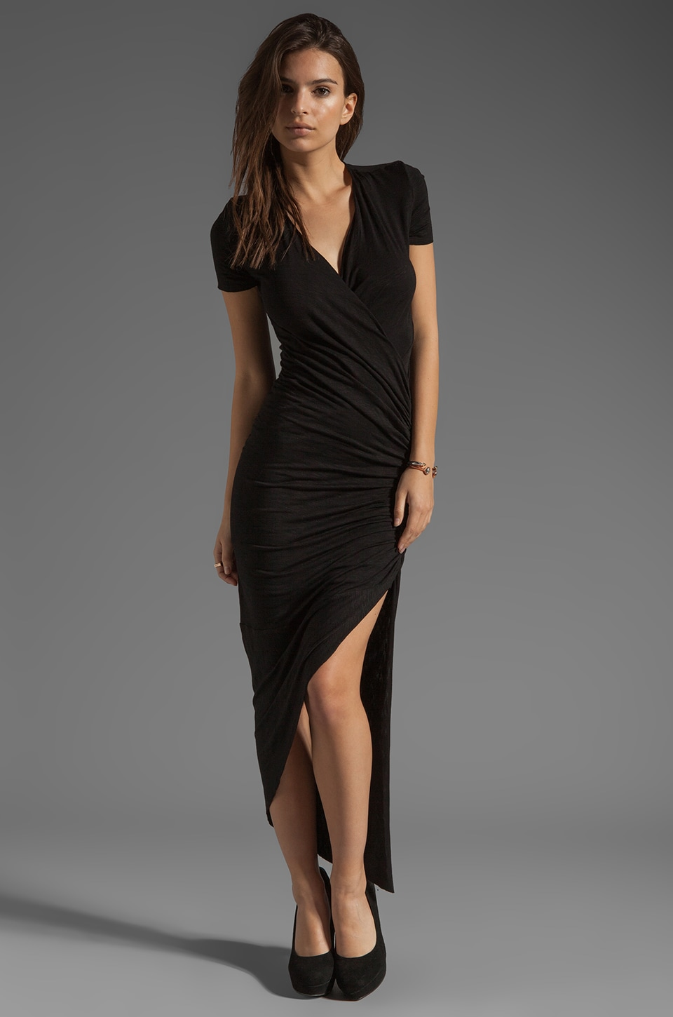 dolan Slub Jersey Asymmetrical Dress in Black