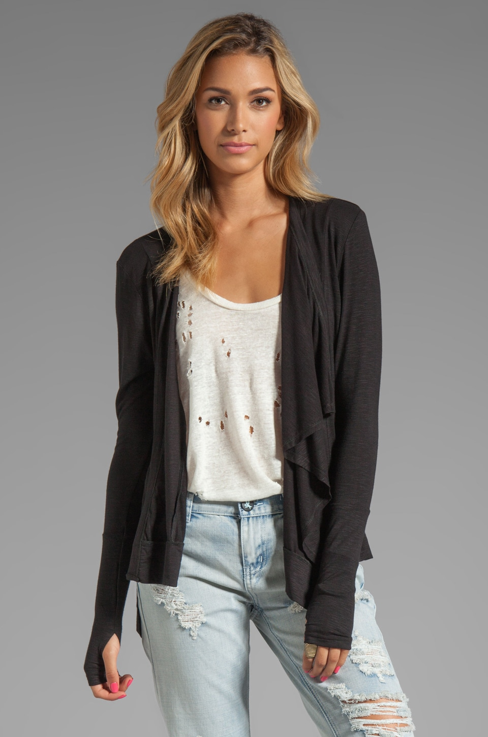 dolan Classic Slub Hi-Low Cardigan in Black