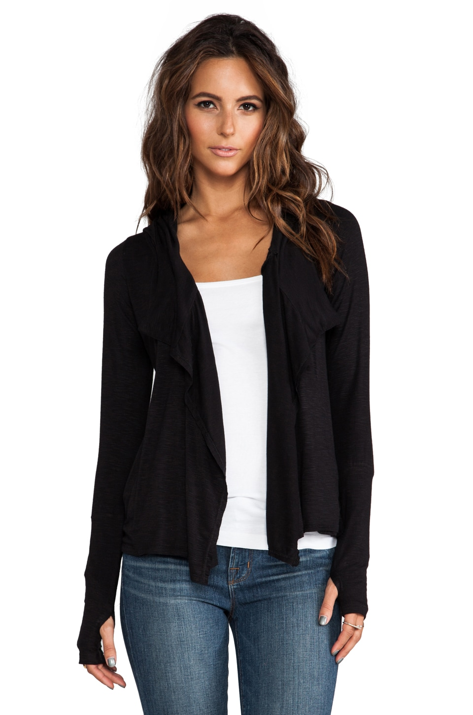 dolan Hooded Draped Front Cardigan in Black