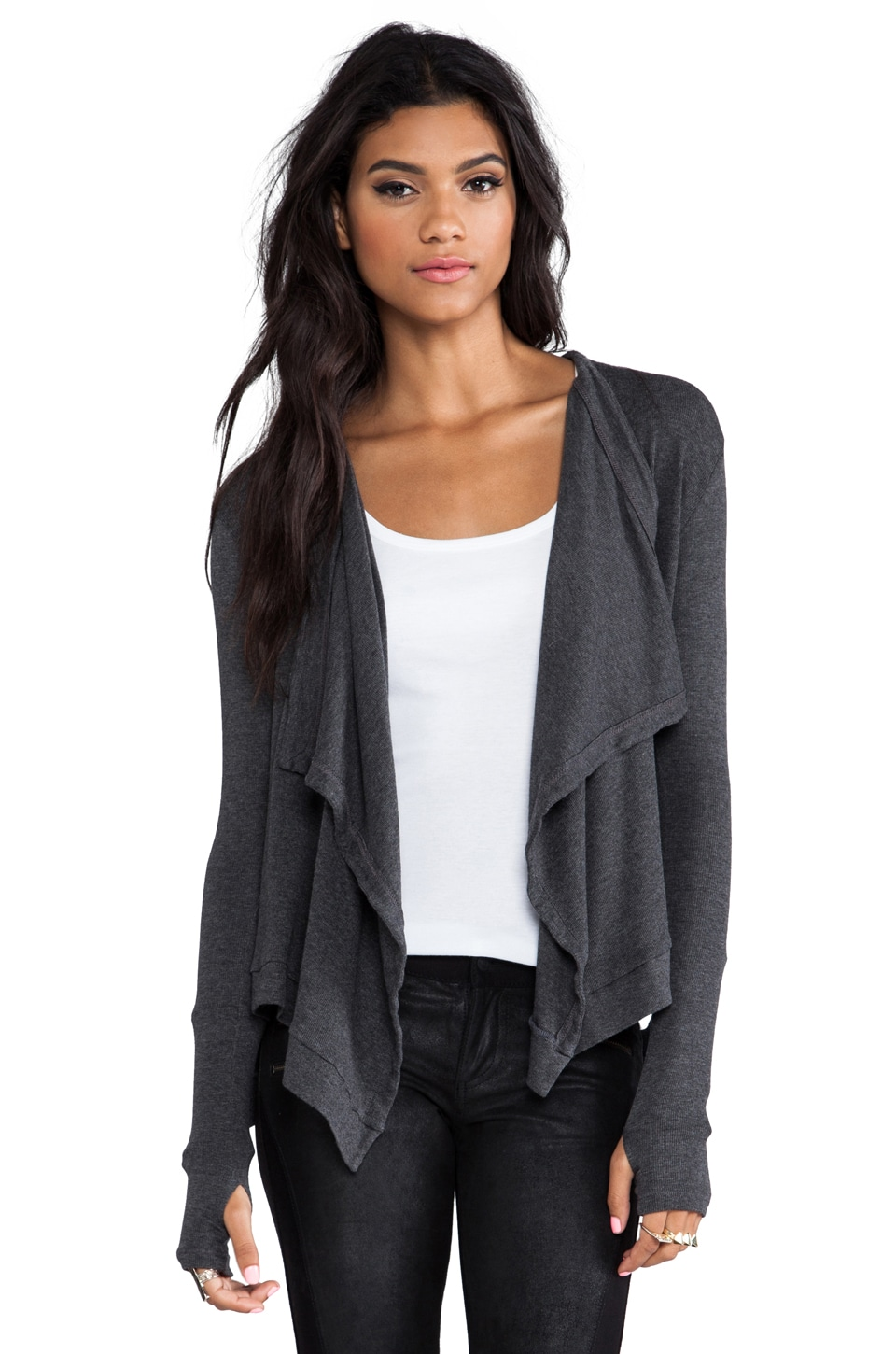 dolan Drape Front Cardigan in Shadow