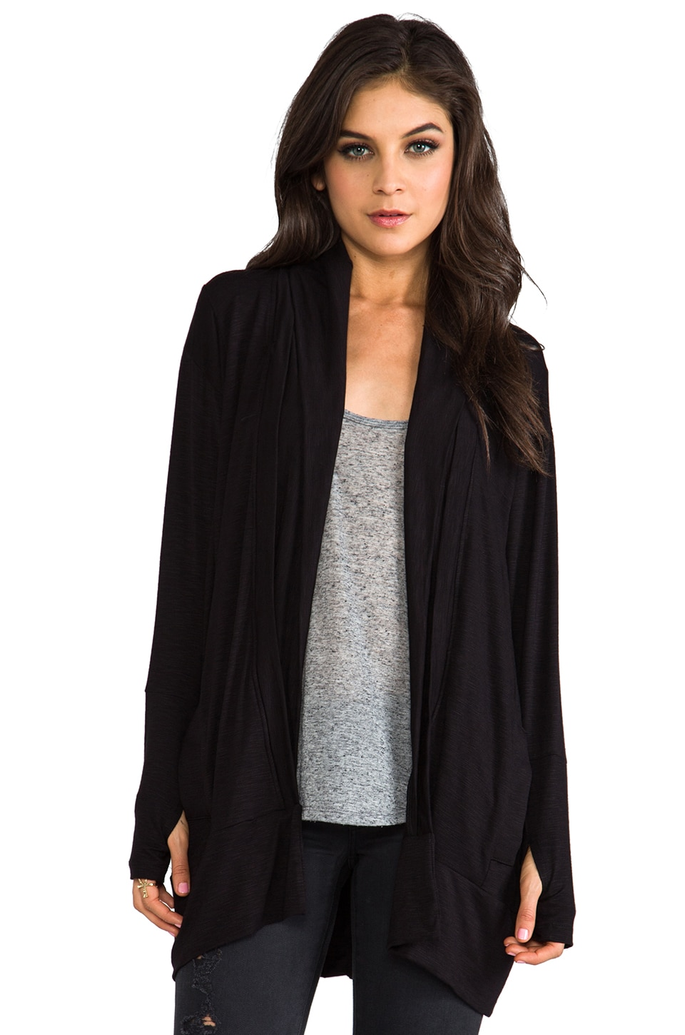 dolan Long Sleeve Oversize Cardigan in Black