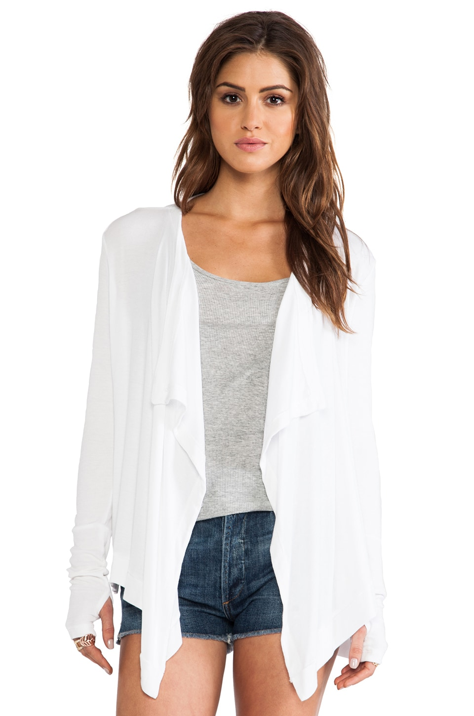 dolan Drape Neck Cardigan in White