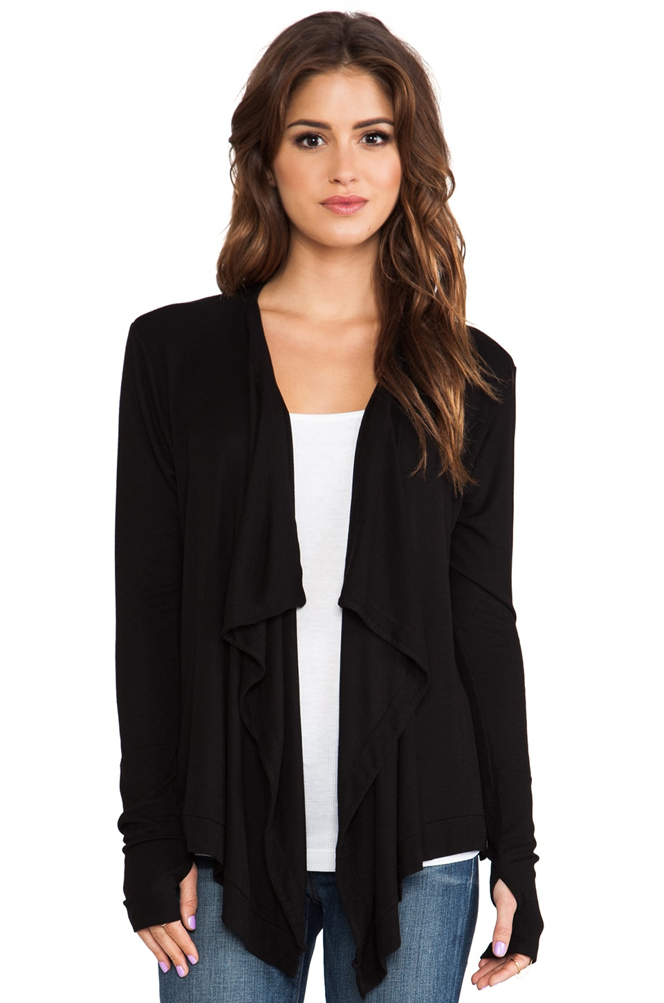 dolan Long Sleeve Drape Neck Cardigan in Black
