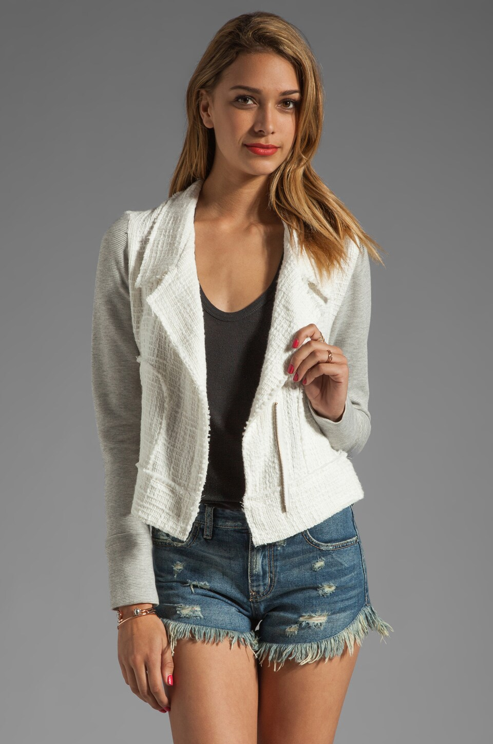 dolan Vintage Tweed Moto Jacket in Ivory