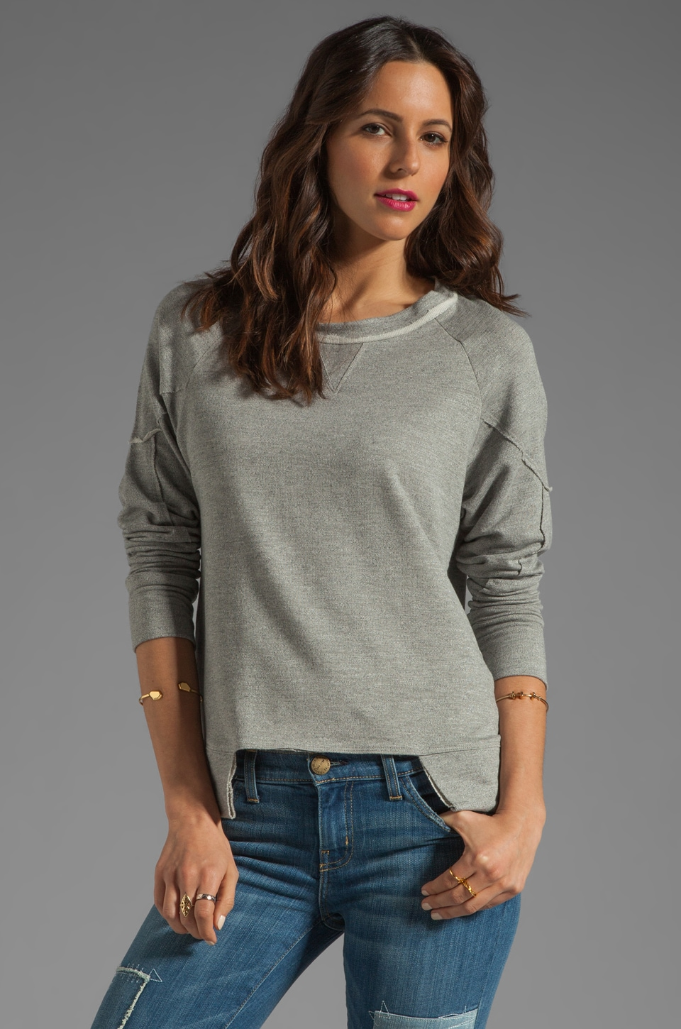 dolan French Terry 3/4 Sleeve Pullover in Slate