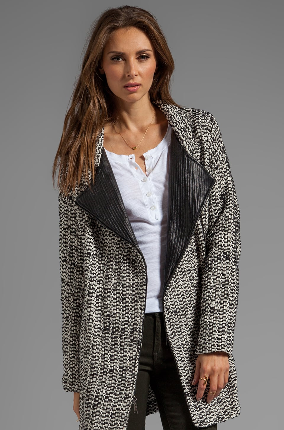 dolan Oversize Leather Trim Blazer in Penguin