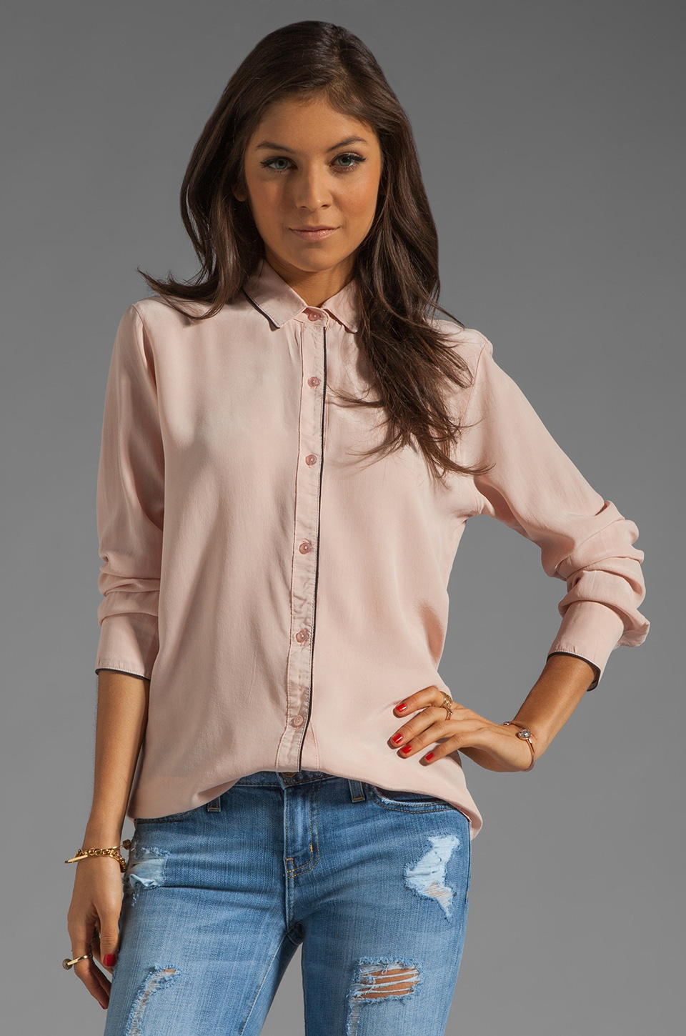 dolan Long Sleeve Button Down with Piping in Pout Silk